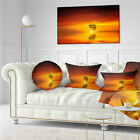 East Urban Home Landscape Wonderful Tree with Birds at Sunset Throw Pillow