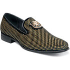 Stacy Adams Men's Shoes Swagger Studded Slip On Black and Gold 25228-715