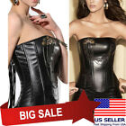 Black Steampunk Faux Leather Boned Costume Chain w/ Pin Overbust Corset S-2XL US