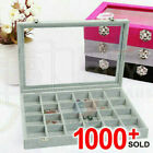 Organizer Case Box Holder Storage Glass Jewelry Earring  Ring Velvet Display