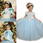 UK  Cinderella Dress Kids Girls Costume Princess Party Fancy Dress +Cape