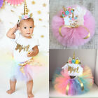 Kyпить USA Canis 3Pcs Newborn Baby Girl Unicorn Birthday Romper Tutu Skirt Dress Outfit на еВаy.соm