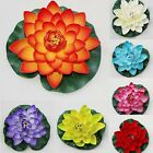 Faux Lotus Water lily Fake Floating Flower Decor Pool Aquarium Plants Ornament