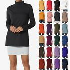 TheMogan S~3X Mock Neck Long Sleeve Top Stretch Cotton Turtle Slim Fit T-Shirt
