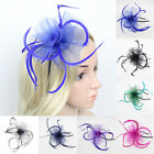 Внешний вид - Women Fascinator Hat Feather Floral Headdress Party Wedding Hair Band Headband