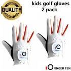 Junior Golf Glove 2 Pack Left Right Hand Kids Children Youth Fit Hot Wet Durable