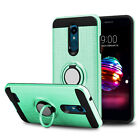 For LG K30/Xpression Plus Ring Stand Phone Case+Tempered Glass Screen Protector