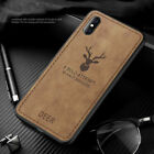 For iPhone XR/XS/Max, Hybrid Anti-Skid Patterned Soft Canvas Leather Case Cover