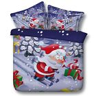 Santa Claus Skiing King Queen & Twin Size Duvet Cover Bedding Set Kids