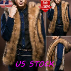 Mens Furry Sleeveless Hooded Winter Vest Jacket Casual Outwe