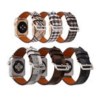 Fashion Plaid Leather Watch Band for iWatch Metal Buckle Bracelet Strap Wrist image