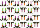 """24x EDIBLE Mini Witch Legs Halloween Stand up Wafer Cupcake Toppers Uncut 1"""""""