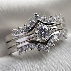 UK Womens Fashion Rings Set 925 Silver White Sapphire Wedding Party Gift Jewelry
