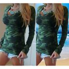Fashion Womens Tops V-neck Long Sleeve Camo Printed Blouse Casual T-Shirt S-XL