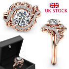 Womens Rhinestone Crystal Silver Rings Ladies Rose Gold Wedding Jewelry Gift Uk