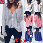 New Womens Long Sleeve V Neck Button Loose Sweater Ladies Casual Jumper Tops UK