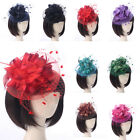 Handmade Women Feather Mesh Floral Fascinator Hat Headband Hair Clip Accessories
