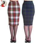 HELL BUNNY JODIE PENCIL SKIRT 50's Jodie joni TARTAN womens wiggle WHITE GREEN