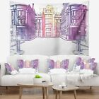 Designart 'Old City Street' Cityscape Painting Wall Tapestry