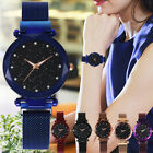 Fashion Quartz Steel Band Mesh Magnet Buckle Starry Sky Analog Wrist Watches US image