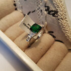 Beautiful AAA Cr Russian Diopside and Diamond Ring Rhodium over Sterling Silver