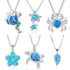 Charm Cute Blue Opal Sea Turtle Silver Filled Pendant Animal Necklace Women Gift image
