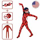 Girls Mira culous Ladybug Costume Marinette Jumpsuit Mask Bag Halloween Cos Suit