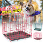 Multi Size Portable Dog Pet Cat Crate Cage Kennel Metal Folding Door Tray Travel