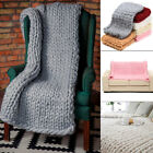USA Handmade Thick Knitted Blanket Wool Chunky Line Yarn Merino Throw Home Decor image