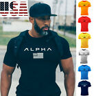 ALPHA Men's Gym T-shirt Muscular Fitness Bodybuilding Outdoor Jogging 7 Colors image