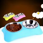 Dual Dog Bowl Anti-Corrosion Non-Skid ABS Base Food Holder Water Bowl for Dog US