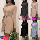 US Womens Slim Winter Warm Trench Coat Long Wool Jacket Parka Cardigans Outwear