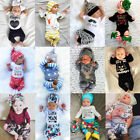 USA Christmas Toddler Baby Boys Girls Romper T-shirt Long Pants Outfits Clothes