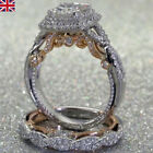 Uk Women Lady Sterling 14k Yellow Gold  Diamond 2pcs Ring Set Band Wedding Size