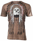 AFFLICTION Mens T-Shirt TRIBE Indian Skull BROWN RIVER WASH Motorcycle Biker $58 image