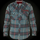 AFFLICTION Mens Embroidered FLANNEL Button Down Shirt EASTSIDE Legion Blue $88