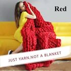Handmade Bulky Chunky Thick Merino Yarn Knitted Wool Throw Blanket Large Soft image