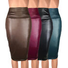 Womens Bodycon Skirt Ladies Plus Size Faux Pu Leather Pencil Stretch Midi Skirt