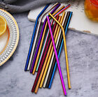 Reusable Stainless Steel Straight + Bent Drinking Straws with Cleaner Brush
