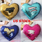 Solid Glitter Sequin Throw Pillow Heart Shape Decor Cushion Cover Valentine Gift image
