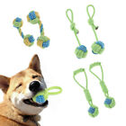 2Pack Dog Ball Toys with Long Handle Doggy Chew Rope Knot Toy Teeth Clean