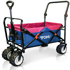 Pull Push Heavy Duty All Terrain Wide Tire Collapsible Folding Wagon Beach Cart