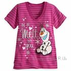 Disney Store Frozen OLAF I'd Melt For You V-Neck Graphic Tee T-Shirt Top S-XL