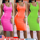 Women Sexy Bodycon Wet Look Mini Dress Leather Tight Pencil Dress Party Clubwear