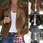 US Women Ladies Thin Jacket Coats Zip Up Biker Casual Flight Top Coat Outwear