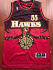 Atlanta Hawks Dikembe Mutumbo Basketball Jersey Red Throwback Swingman #55 Sewn