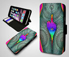 Trippy Psychedelic Hippie Alien Cosmic Illusion Leather Flip Phone Case Cover