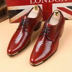 New Mens Pointy Toe Lace Up Mid Cuban Heel British Patent Leather Wedding Shoes