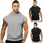 Mens Muscle Hoodie Tank Top Bodybuilding Gym Workout Sleeveless Vest T Shirt Tee image