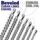 Stainless Steel 316l Beveled Cuban Links Necklaces Chain Men Women Silver Color